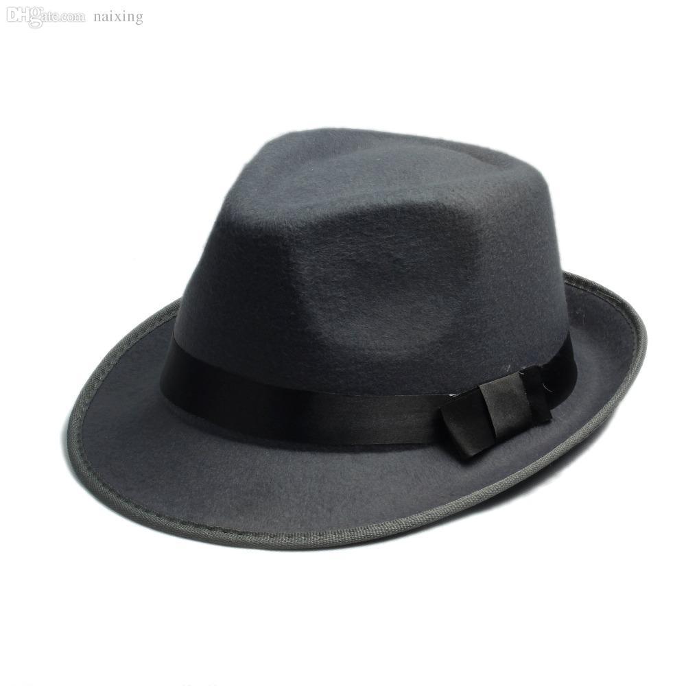 Wholesale Unisex Men Women Wool Cotton Felt Fedora Hat Cappelli Jazz Felt  Floppy Ribbon Band Panama Hat Elegant Gorras Hombre Gangster Cap UK 2019  From ... 4159ad3fc8b8