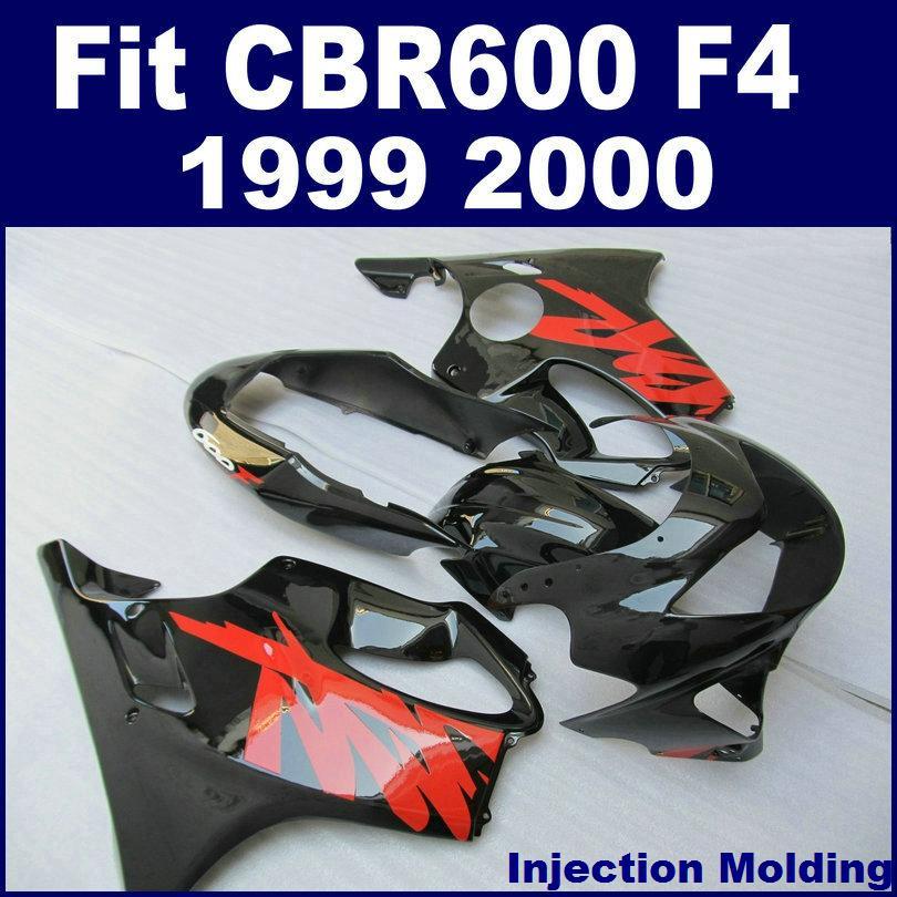 1999 2000 Honda CBR600 F4 F4 F4 F4 F4 Tam Kapı Kitleri için Siyah Kırmızı Enjection Fairing Kit Özelleştirmek
