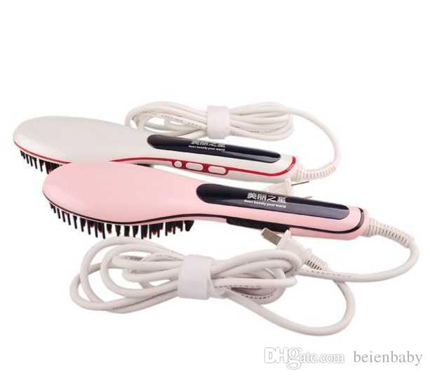 REINO UNIDO EUA AU PLUG PINK BRANCO PRETO Profissional Escova Elétrica Alisador de Cabelo Pente de Cabelo Display LCD Endireita Irons Em Linha Reta Escova de Cabelo