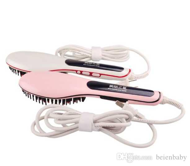 UK US AU PLUG PINK WHITE BLACK Professional Brush Electric Hair Straightener Hair Comb LCD Display Straightening Irons Straight Hair Brush