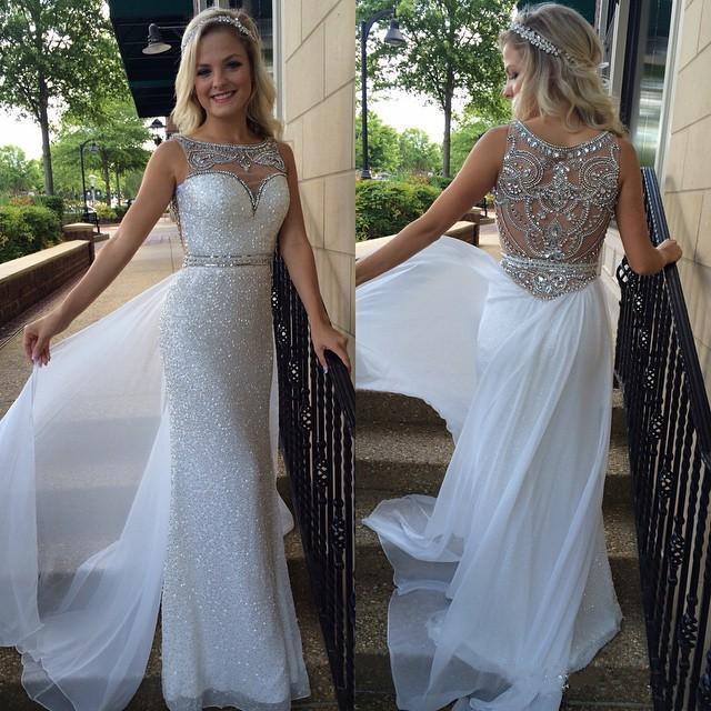 Expensive White Sequins Prom Dresses 2019 Sexy Pretty Dress Sheer Bateau Illusion Back Crystal Beads Chiffon Long new Pageant Evening Gown