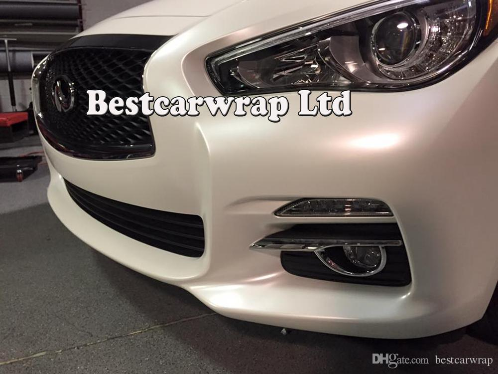 Premium Satin Pearl white vinyl wrap for Car wrap film pearlescent Car Wrapping film Full Vehicle covering with air free 1.52x20m 5x67ft
