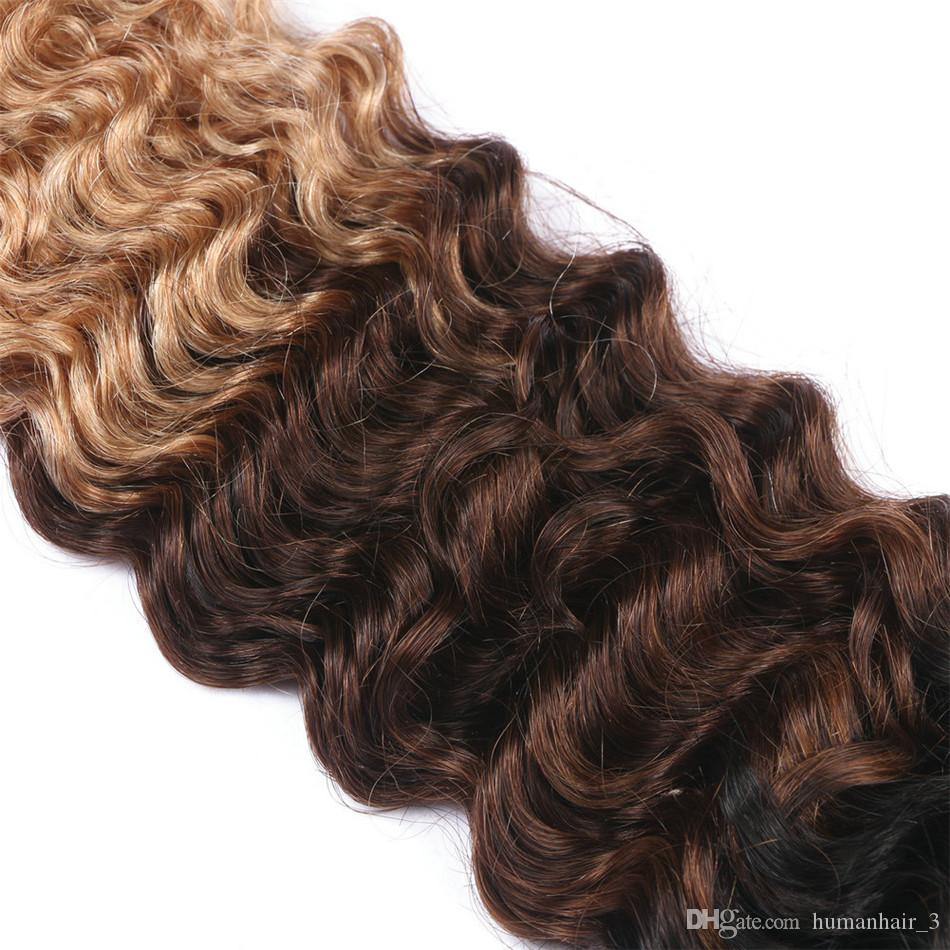 Tiefe Welle Drei Ton Menschenhaar 3 Bundles 1b 4 27 Honig Blonde Reine Malaysische Brasilianische Peruanische Menschenhaar Tiefe Welle Haarverlängerung