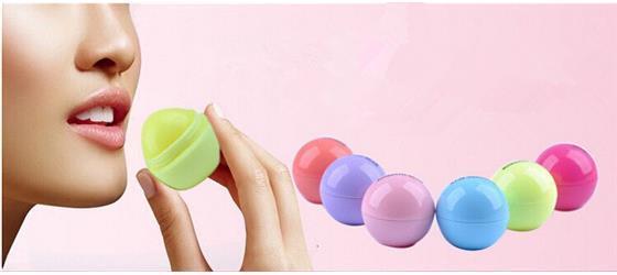 O bálsamo de bordo orgânico natural da bola redonda da forma de 6 cores embellish o bálsamo, Chapstick, cuidado do bordo