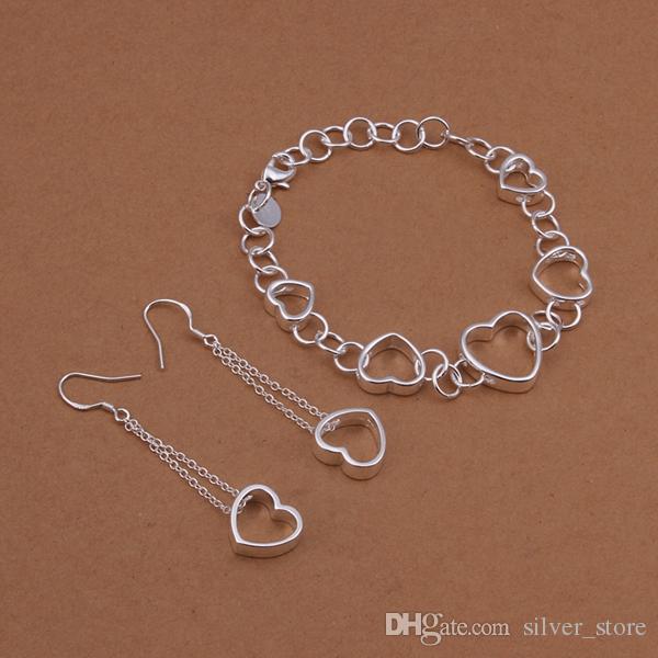 عالية الجودة 925 الفضة الاسترليني معلق قطعة الأقراط سوار جوفاء مجموعات المجوهرات DFMSS427 العلامة التجارية مصنع جديد للبيع المباشر الزفاف 925