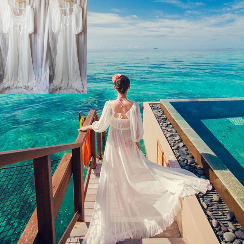 Elegant White Long Chiffon Swimwear Cover UP Half Sleeve Cardigan ...