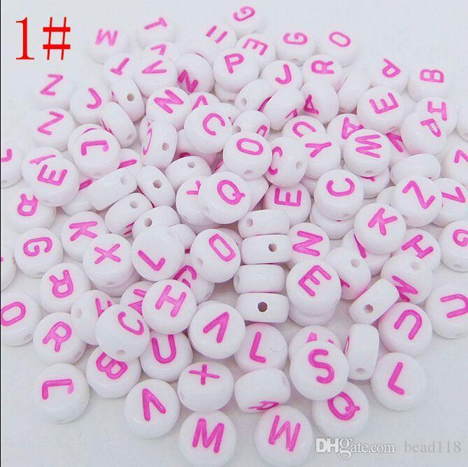 Chaud! 7mm Acrylique Mixte Alphabet Lettre Pièce Ronde Plat Lâche Spacer Perles 15- style Choisissez