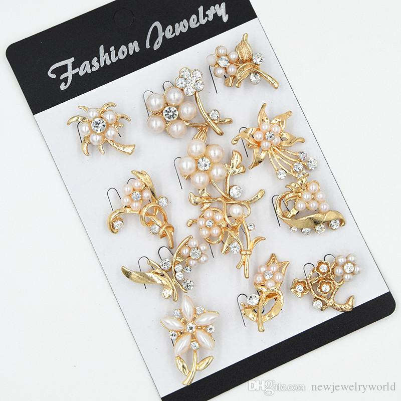 12 UNIDS Diseño Mezclado Pequeña Flor Broches Pastel Broche Lindo Collar Broches Broche Impresionante Diamante Mujeres Traje Pins