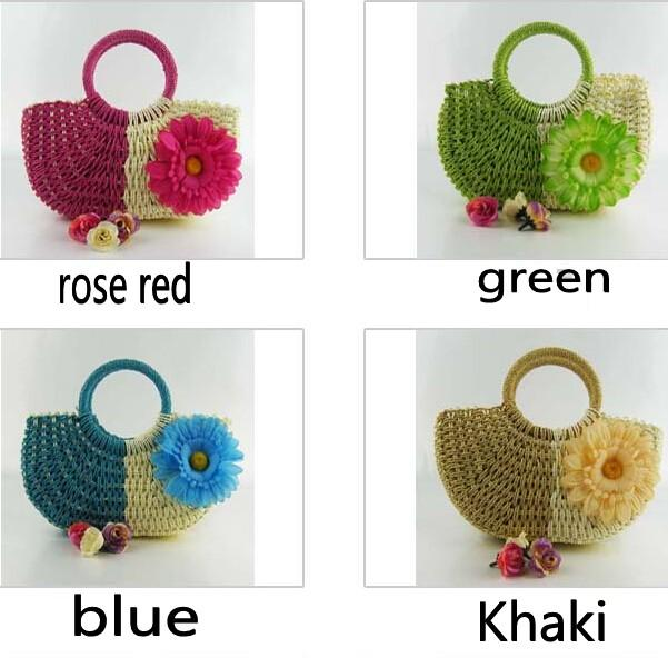 Pastoral Styles Hand Knit Beach Resort Sunflower Handbag Fashion Crocheted Straw Hand Bags