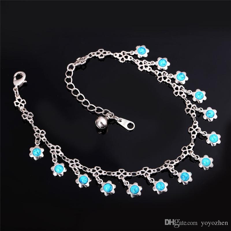 Женщины синий бирюзовый камень подвески лодыжки цепи 18k Золото / Платина покрытием сандалии ювелирные изделия летние браслеты браслеты