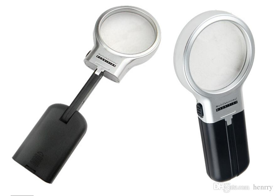 60mm Magnifier with LED lighting a bag, illuminated reading magnifier old desktop handheld multi-function folding magnifier TH7006