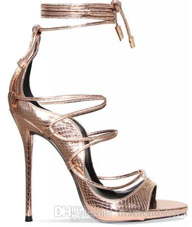 2017 New Python Leather Lace Up Gladiator Sandals Women Platforms Stiletto High Heels Strappy Sexy Cut Out Booties Woman Pumps