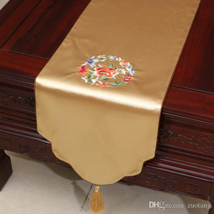 Fine Embroidery Flower Table Runners High End Luxury Dining Table Mats Silk Brocade Rectangle Tea Table Cloth Placemat Home Decor 200x33 cm