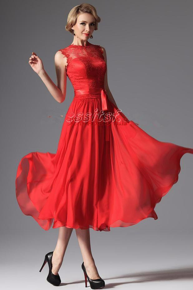 Summer Style Vestido Womens Evening Party Gowns Beaded Red
