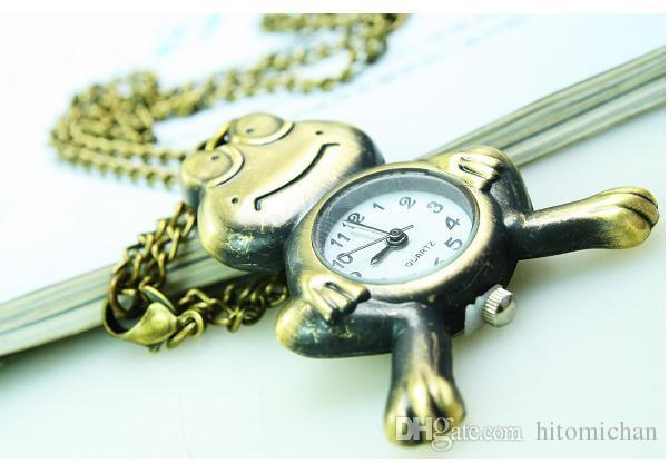 빈티지 패션 쿼츠 시계 한판 스웨터 체인 개구리 펜던트 목걸이 회중 시계