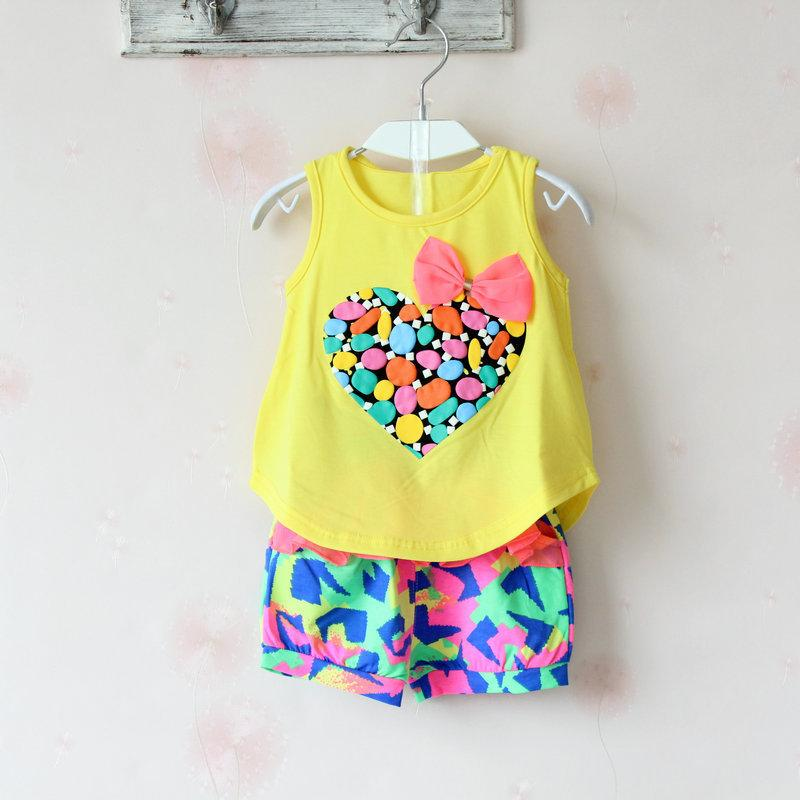 baby girl outfits heart shape vest+colorful shorts baby girls clothes set summer babies outfit Camouflage girl's fashion suits