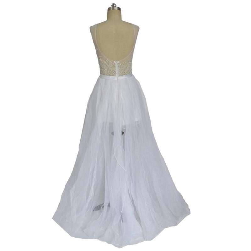 Vestidos De Noivas Para Casamento Abiti da sera stile arabo Abito lungo bianco formale abito da ballo 2018