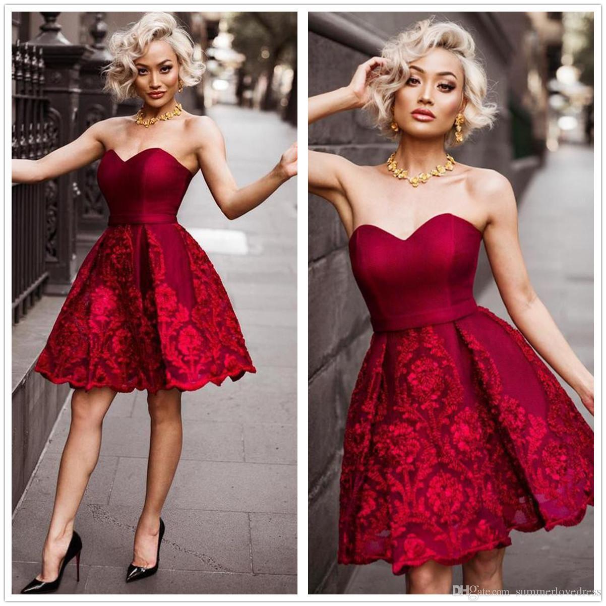 Black Red Strapless Knee Length Cocktail Dresses