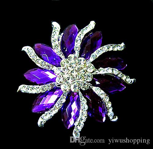 """2.2"""" Silver Tone Rhinestone Crystal Diamante and Red Marquise Stone Flower Brooch Party Prom Pins"""
