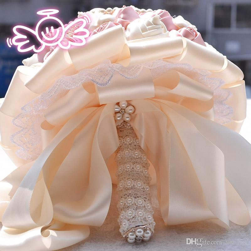Beautiful Flowers Bouquets For Bride Handmade Pearls Crystal Wedding Flowers Mix Colors Artificial Rose Romantic Bridal Bouquets Cheap