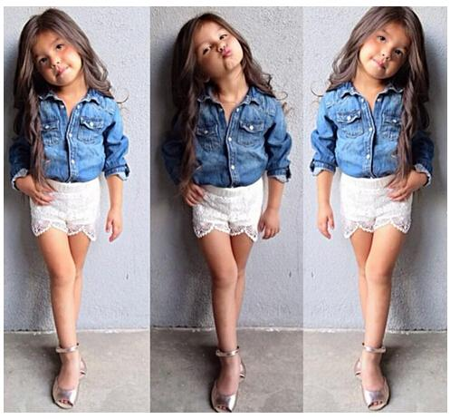131dade1ce 2015 Summer New Hot Sale Girls Sets Girl Long Sleeve Denim Jeans T Shirt +  Lace Lining Shorts Pants Girls Outfits Baby Clothes Online with  85.25 Set  on ...