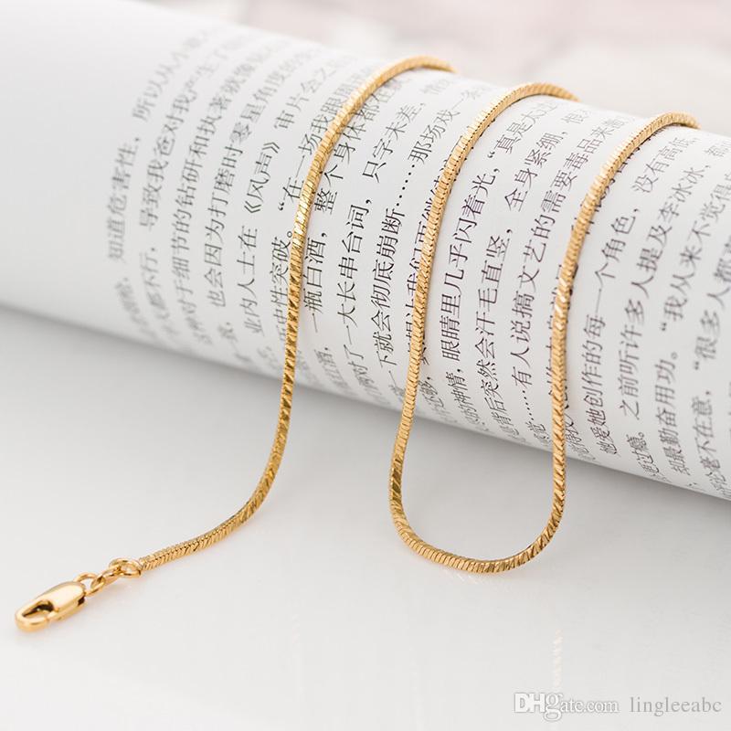 bb16a9b6cffc Compre Cadena Classic Largo 60cm Fina Cadena Serpiente Redonda De Oro Para  Hombres Mujeres 1.3mm 7.2 Gramos 18K Oro Amarillo Colgante Collar Lleno A   1.37 ...