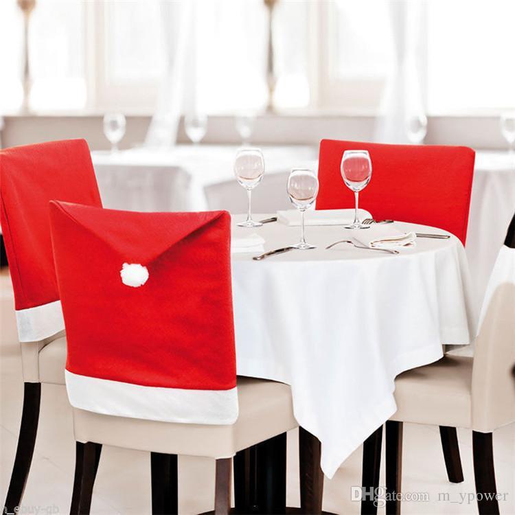 En iyi Noel Baba Clause Şapka Sandalye Kapakları Yemeği Sandalye Kap Noel Noel Süslemeleri Ev Partisi Tatil Şenlikli Kırmızı Için Setleri