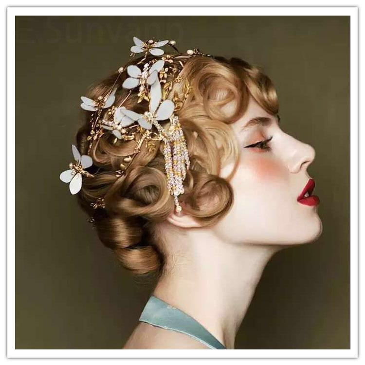 Romantic Princess Bridal Crowns Rhinestones Gold Olive Branch Head Pieces Wedding Tiaras Hair Accessories Free Shipping Cheap ZYY