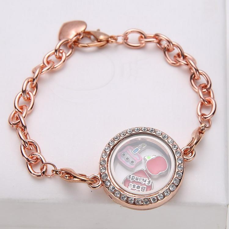 New Magnetic Crystal Living Memory Locket Bracelet Floating Charms alloy bracelet with circular glass 5 Colors best gift