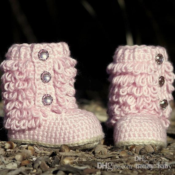 crochet baby girls knitted prewalker shoes autumn winter newborn kids snow booties first walker shoes loops design cotton yarn
