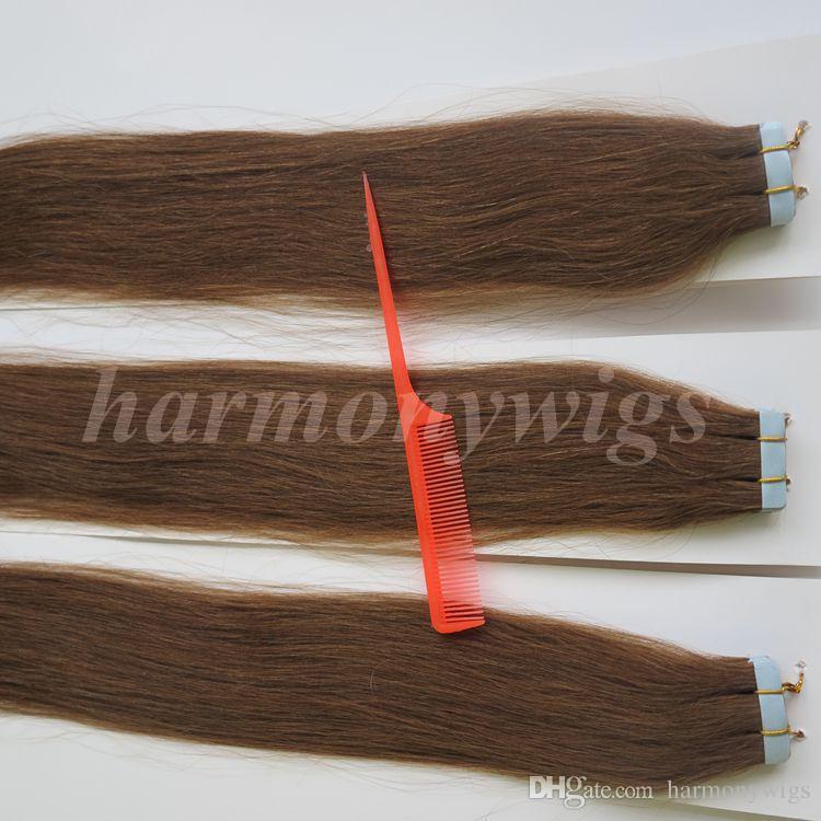 50g Glue Skin Weft Tape Hair Extensions Remy Human hair 18 20 22 24inch #6/Medium Brown Brazilian Indian Hair HARMONY