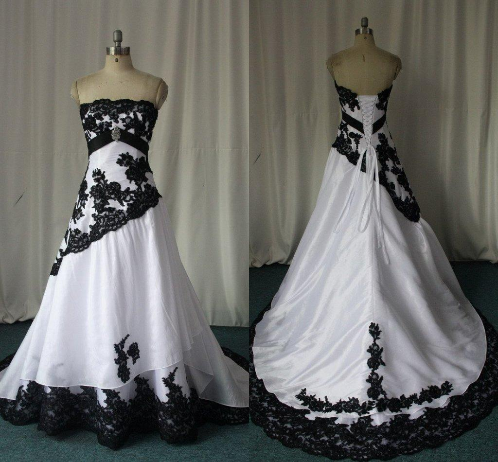 Popular Plus Size Gothic Wedding Gowns Buy Cheap Plus Size: Discount Black And White Gothic Wedding Dresses Real