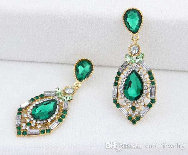 Orecchini di goccia variopinti di cristallo di Waterdrop di lusso le donne 2016 orecchini d'avanguardia di nuovo disegno Trasporto libero di qualità superiore