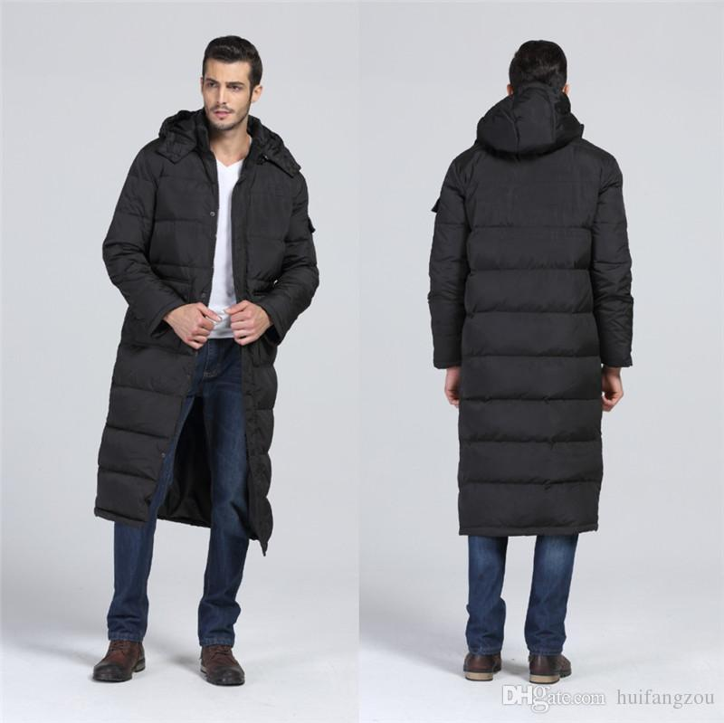 2018 Black Pvc Men Winter Coats Warm Thicken Long Men Parkas With ...