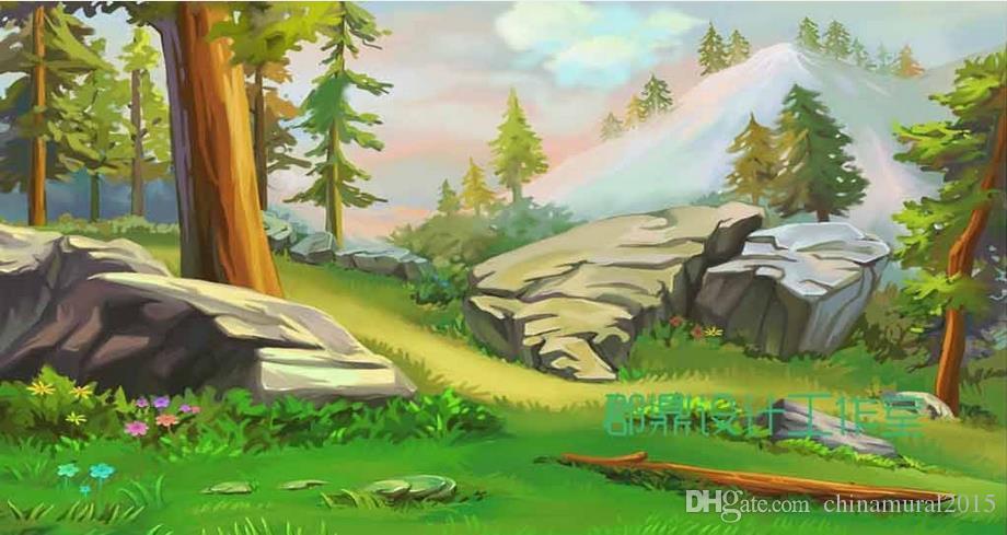 Duvarlar Sunlight için 3 d duvar kağıdı orman fotoğraf duvar kağıdı karla kaplı dağlarda parlar