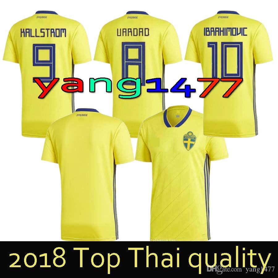 fe625c534 ... top quality 2018 world cup sweden home yellow soccer jersey 17 18 sweden  team national ibrahimovic