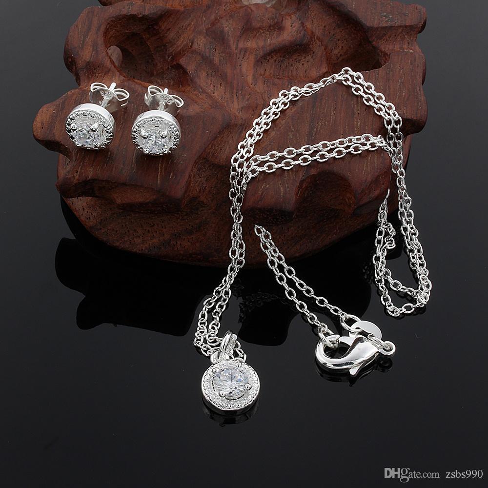 2015 novo design 925 Sterling Silver CZ Diamante Colar Anel Brincos Set Moda Jóias presente de casamento para mulher frete grátis