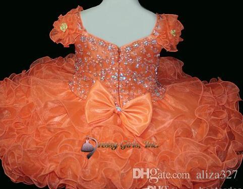 Tjejs pageant klänningar tjejer med shinning pärlor baby cupcake pageant klänning formella klänningar för barn fest klänning band fixat