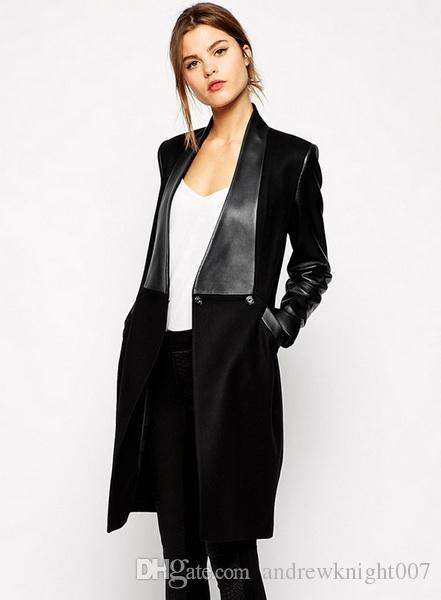 British Noble Fashion UK Princess Kate Coat Celebrity Long sleeve Black PU Outwear Coat Jacket / drop shipping
