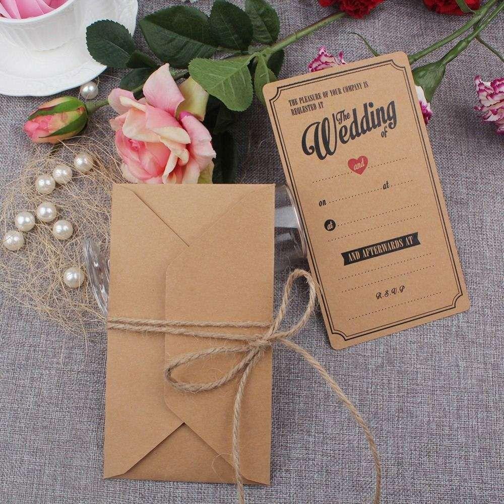 Vintage Kraft Wedding Invitations Cards With Envelopes Greeting ...