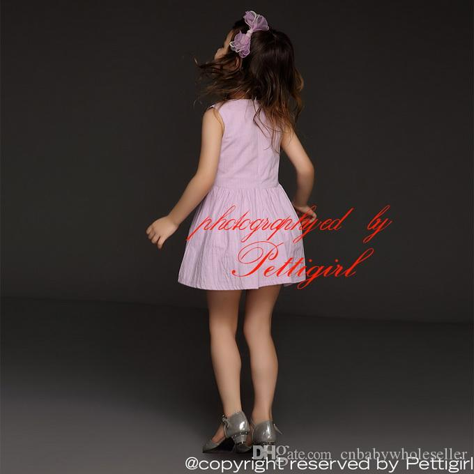 Pettigirl 2016 Summer Fashion Girl Dress Sleeveless Flower Princess Casual Dress New Design Kids Outfits GD41207-03 Cheap