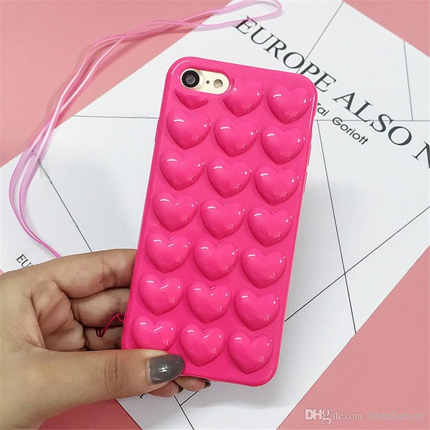 899ab07cc8eae For Iphone 8 X 3D Heart Soft Case Soft Silicone Jelly Phone Cover Skin Shell  With Lanyard Hang Rope String Colorful For Iphone 6S 7 Plus Waterproof Cell  ...