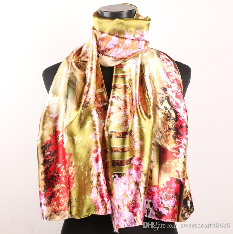 Red Pink Cherry Blossoms Fences Gold Women's Fashion Satin Oil Painting Long Wrap Shawl Beach Silk Scarf 160X50cm
