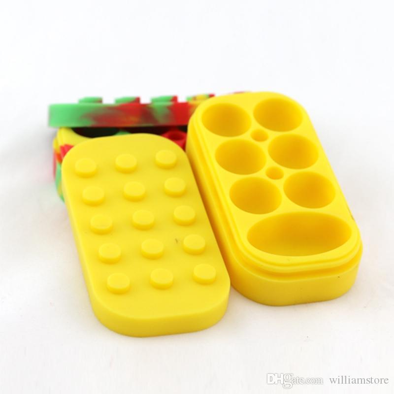 Recipientes de Cera antiaderente 6 + 1 caixa de silicone grande cera pode Recipiente de silicone Colorido antiaderente frascos de cera dab dabber frasco de armazenamento de óleo vape dabber