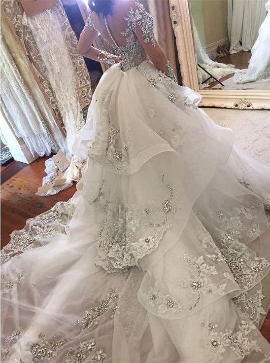 Zwei Stücke Mermaid Brautkleider mit overskirts abnehmbaren Zug Illusion langen Ärmeln Stehkragen Saudi Arabische Hochzeit Brautkleider wulstige
