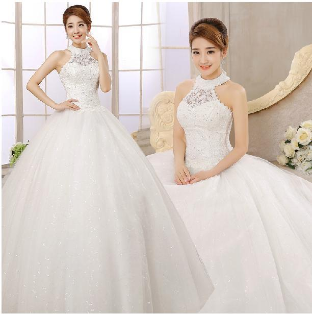 Maternity Wedding Gowns Under 100: Custom Made 2015 Lace Ball Gown Wedding Dresses Halter