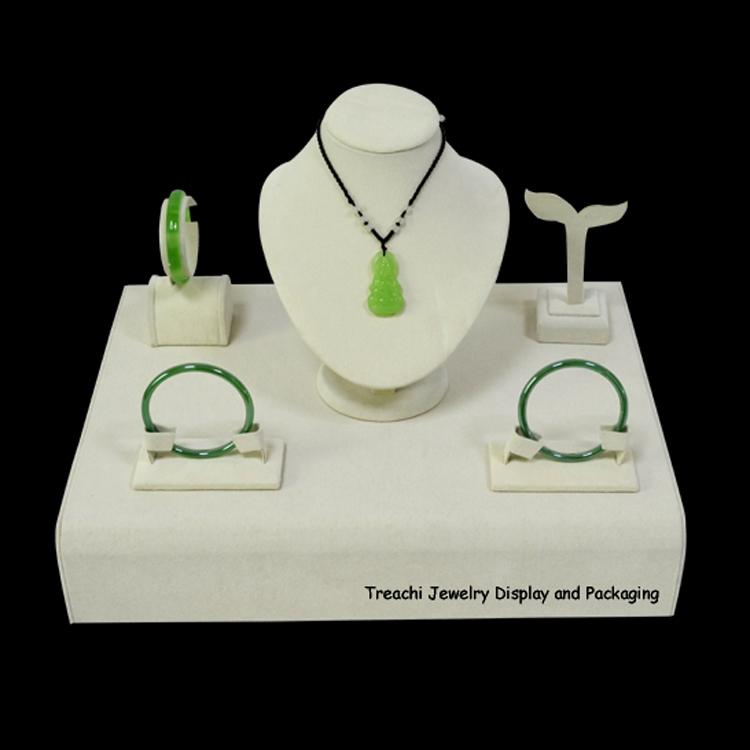 Treachi Jewelry Display Packaging Show Case Beige Velvet Display Jewelry Holder for Necklace Bust Bracelets Stand Earring Rack