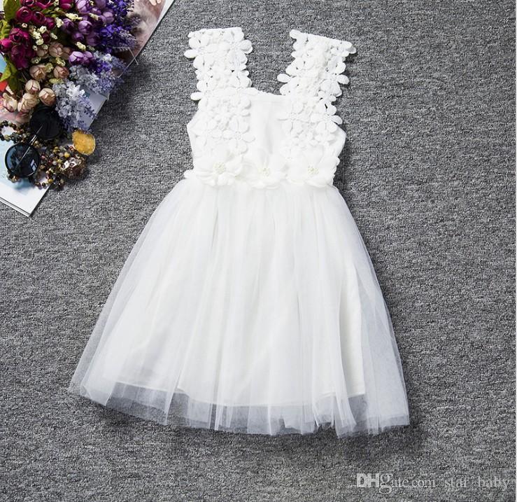 2016 Sommer-3D Blumen Crochet Kleid-Mädchen-Spitze-Sleeveless Sun Kleid-Kind-Tutu-Kleid-Partei-Kleid-freies Verschiffen K6543
