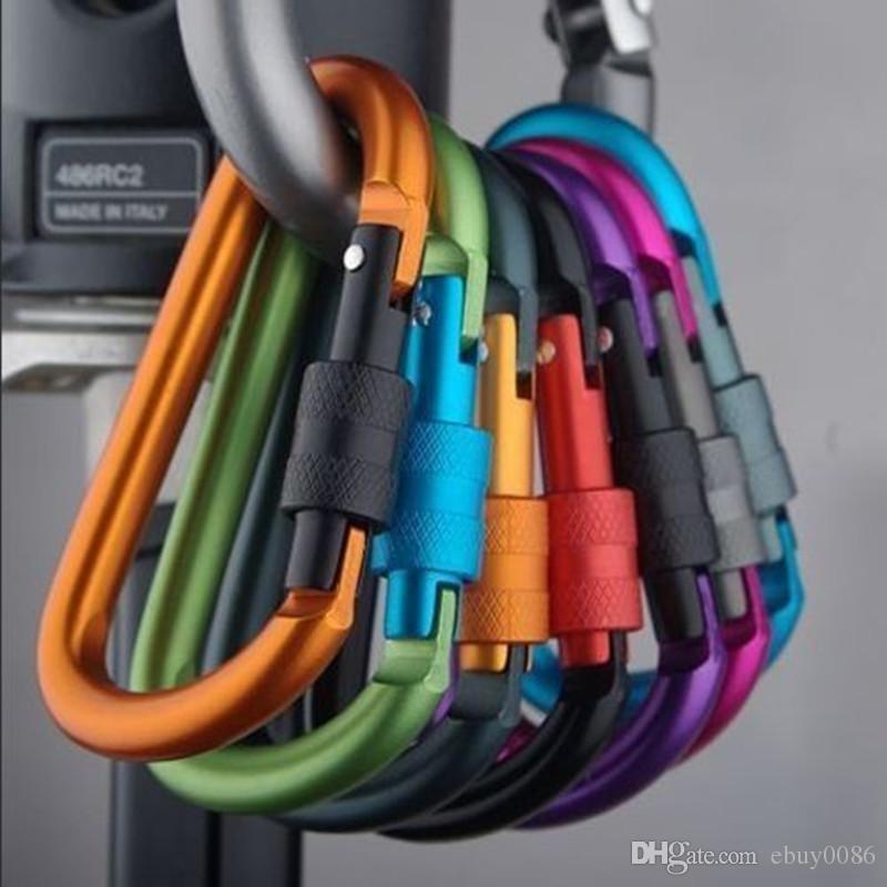 Neue Outdoor Sicherheit Schnalle Aluminiumlegierung D-Form Klettern Taste Karabiner Karabinerhaken Haken Schlüsselbund Schlüsselbund Karabiner Camping Wandern K007
