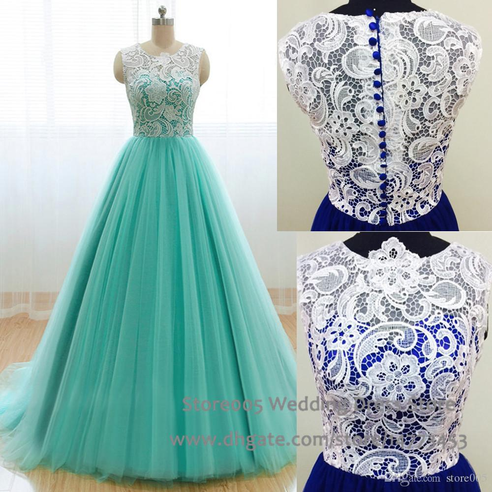 Real Photos Lace Puffy Prom Dresses 2015 Green Royal Blue Ball ...